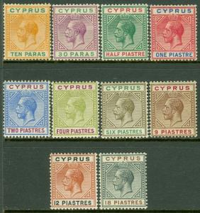 EDW1949SELL : CYPRUS 1912 Scott #61-70 Very Fine, Mint OG. All Fresh. Cat $136.