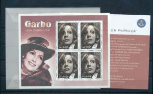 SWEDEN 2005 Greta Garbo Sheet Movie Star Unused Unhinged Sheet Pack (Zc224s
