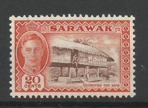 Sarawak 1950 Sg 180, 20c Purple Brown & Red Orange, Lightly Mounted Mint [1440]