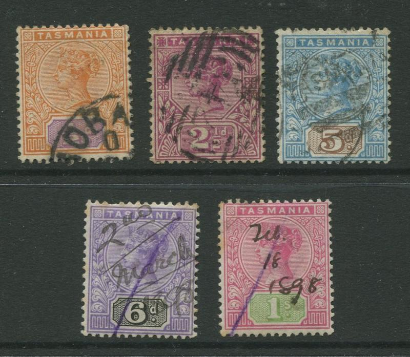 Tasmnia  #76-79,81  FU  1892 5 Single Stamps