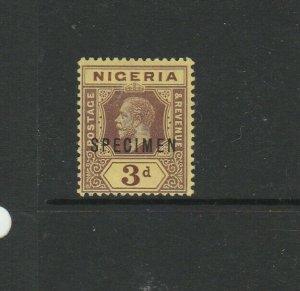 Nigeria 1914/29 3d on Deep Yellow Optd SPECIMEN MM SG 5bs
