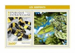 HERRICKSTAMP NEW ISSUES CENTRAL AFRICA Snakes Souvenir Sheet