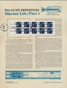 Palau 76a Booket pane on Souvenir Page - Marine Life, Fish
