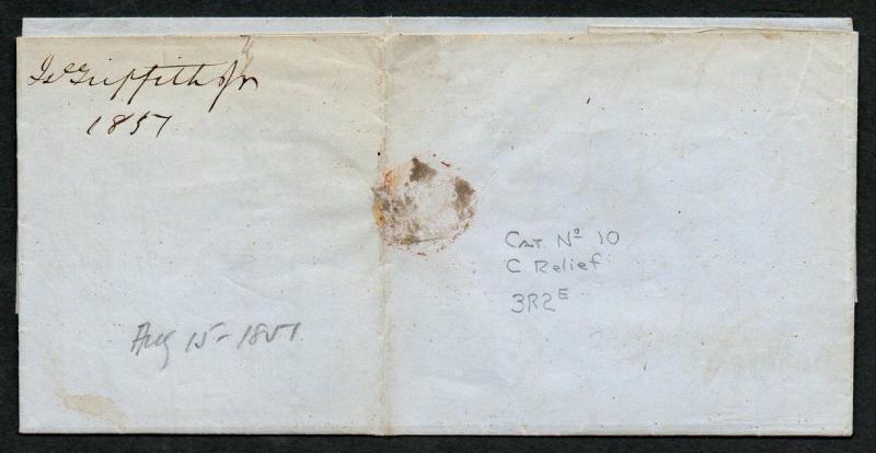 **US Scott #10A C Relief 3R2e White Sulfur Springs VA Aug 15, 1857 Red CDS Cxl