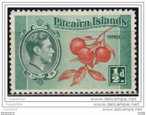 Pitcairn Islands 1940, Cluster of Oranges, 1/2 cent, sc#1, MNH