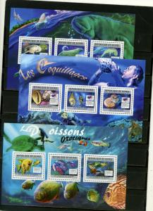 GUINEA 2011 FISH AND MARINE LIFE 3 SHEETS OF 3 STAMPS MNH