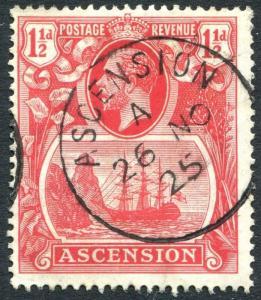 ASCENSION-1924-33  1½d Rose-Red Sg 12 FINE USED V24830