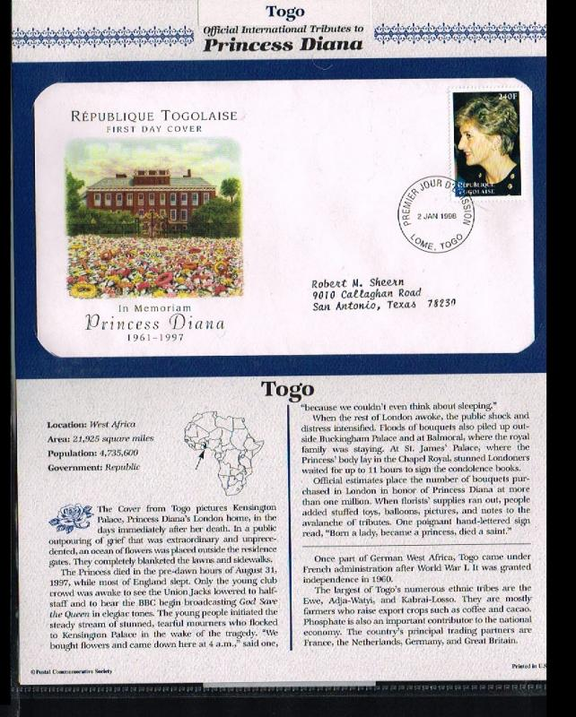 1998 - Togo FDC - Famous People - Royalty - Tribute to Princess