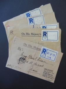 EGYPT : Very interesting group of 5 Registered Field Post Office covers