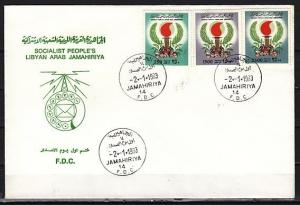 Libya, Scott cat. 1053-1055. Torch issue. First day cover.  Cat. 39.50 used. *