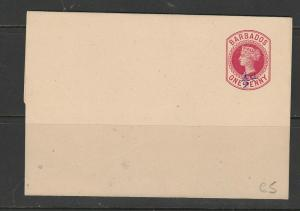 Barbados QV Wrapper, 1/2d on 1d Red, Unused, Clean