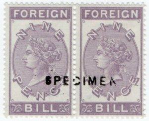 (I.B) QV Revenue : Foreign Bill 9d (1872) unmounted mint specimen