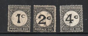 British Honduras Sc J1-3 postage due stamp set used