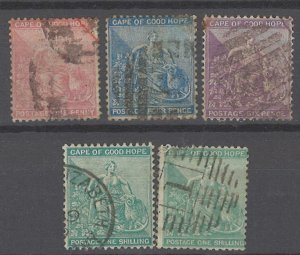 COLLECTION LOT # 1995 CAPE OF GOOD HOPE5 STAMPS 1864+ CV=$65