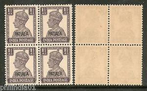 India PATIALA 1½An KG VI SG 108 / Sc 107 Postage Stamp BLK/4 Cat £56 MNH