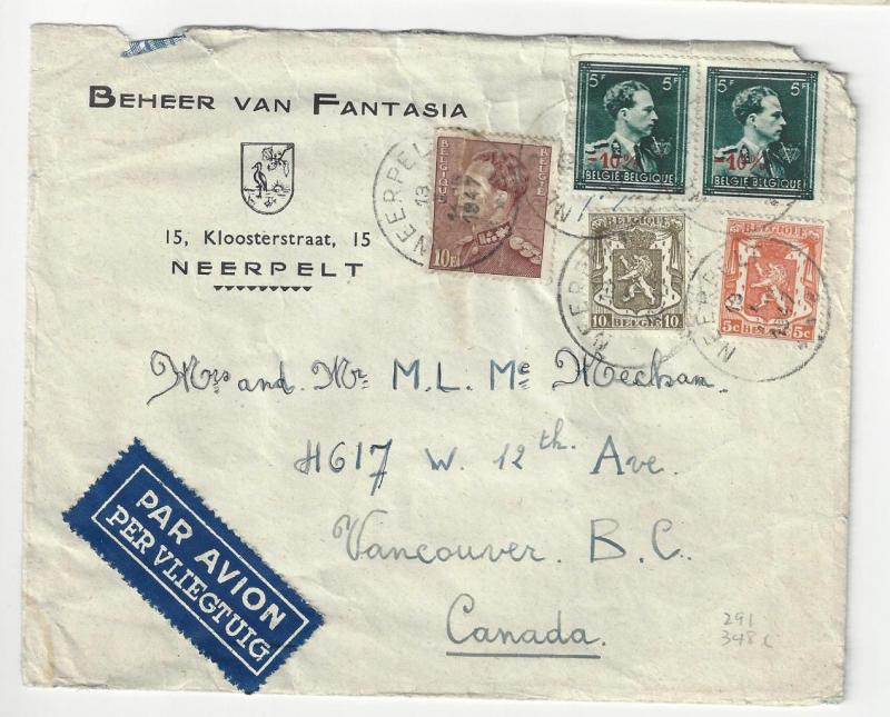 1947 Belgium To Canada Advertisement Cover -  (AF122)