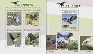 Guinea 2014 birds of prey eagles klb+s/s MNH