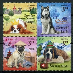 Croatia 2019 MNH Dogs II Huskies Pugs St Bernard 4v Block Pets Animals Stamps
