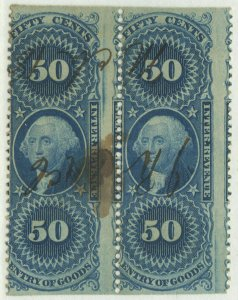 0113 revenue Scott R55b, 50-cent Entry of Goods part perf PAIR, SCV = $300