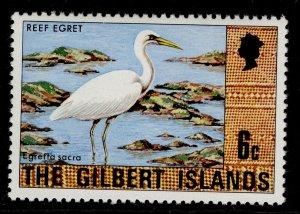 GILBERT ISLANDS QEII SG27, 6c eastern reef heron, NH MINT.