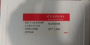 FREE SHIPPING 100 WESTVACO #4.5  3 1/8 x 5 1/16 OPEN SIDE GLASSINE ENVELOPES