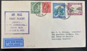 1932 Kingston Jamaica First Flight Airmail Cover FFC To Dominican Republic