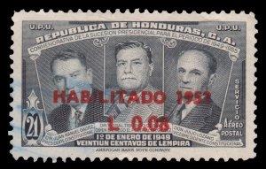 HONDURAS 1953 AIRMAIL STAMP. SCOTT: C207. USED.