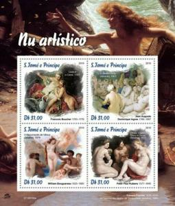 St Thomas - 2019 Nude Art Paintings - 4 Stamp Sheet - ST190106a