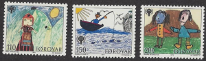 Faroe Islands #45-7, MNH set, Children's drawings & IYC emblem , issued 1979