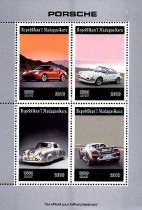 Madagascar 2019 Porsche Cars (Stuttgart, Germany) 4v MNH S/S. (#047)