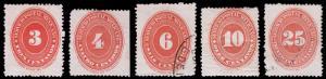 Mexico Scott 222-225, 227 (1892) Mint/Used H F-VF, CV $42.25