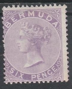 BERMUDA 1865 QV 6D PERF 14 WMK CROWN CC