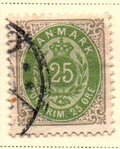 Denmark Sc 50 1898 25 ore gray & green stamp used