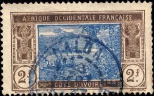 CÔTE-D'IVOIRE - 1937 - CAD DALOA / COTE-D'IVOIRE EN BLEU SUR N°56