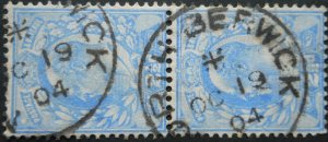 Great Britain 1904 EVII Two and a HalfPence pair SG 231 used