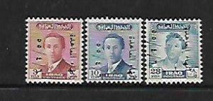 IRAQ, 158-160,  MNH, KING FAISAL II OVERPRINTED