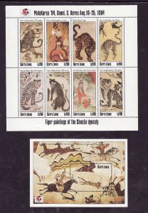 Sierra Leone-Sc#1726-7- id2-Unused NH sheets-Philakorea-Tiger paintings-1994-