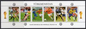 Turkmenistan 1998 World Cup Football 1998 France Compound  S/S Perforated MNH