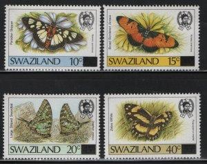 SWAZILAND 574//577 (4) Set, Hinged, 1990 Butterflies