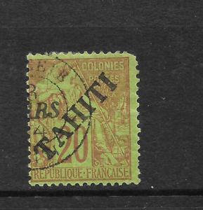 TAHITI  1892  20c  MOUCHON   FU     SG 13