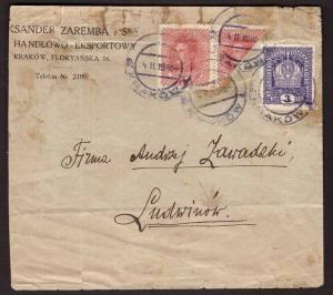 Austria Osterreich, 1919 cover franked with bisected stamp        -BK77