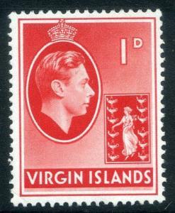 BRITISH VIRGIN ISLANDS;  1938 GVI issue fine Mint hinged 1d. value SG 111a[ 2 ]