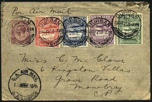 SOUTH AFRICA 1925 Air Mail set on flown cover Durban to Mowbray............18720