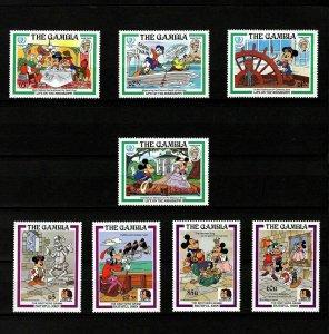 GAMBIA - 1985 - DISNEY - GRIMM - TWAIN - MICKEY - GOOFY - MINNIE + MINT MNH SET!