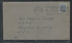 BAHAMAS COVER (PP2909BB) 1944  KGVI 3D/2 1/2D SLOGAN CANCEL COVER TO USA