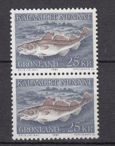 J26540  jlstamps 1981-6 greenland pair part of set mnh #140 codfish