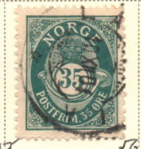 Norway Sc 56  1898 35 ore dark blue green Post Horn stamp used
