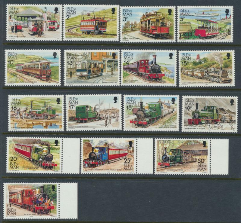 Isle of Man - SG 365-380  SC# 347-358d  MUH Manx Railways -Please see details