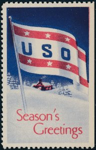Stamp Label USA 1941 WWII Poster USO Holiday Seasons' Greetings MNH