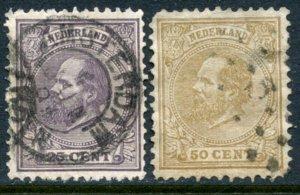 NETHERLANDS Sc#30 & 31 1872 25c & 50c William III Higher Values Used